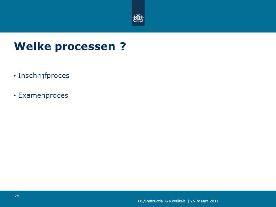 Welke processen Inschrijfproces Examenproces