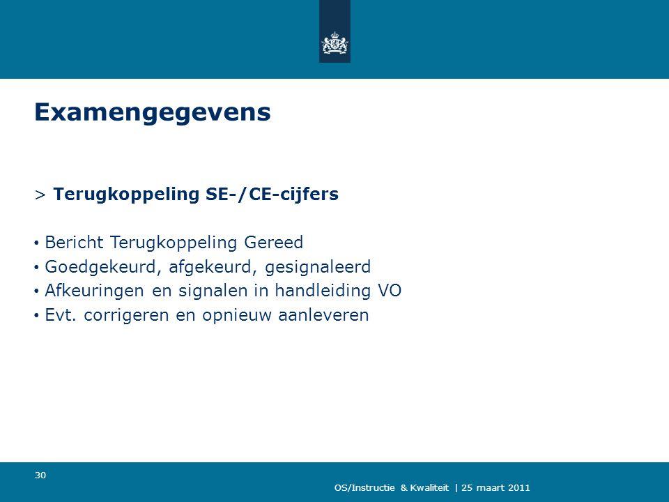 Examengegevens > Terugkoppeling SE-/CE-cijfers