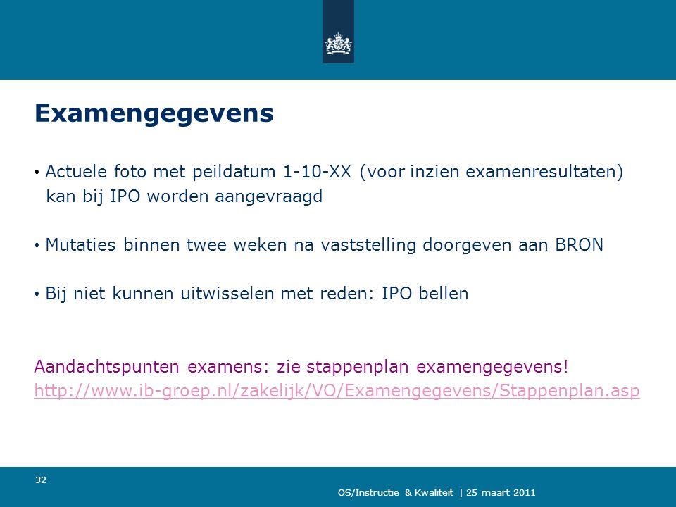 Examengegevens Actuele foto met peildatum 1-10-XX (voor inzien examenresultaten) kan bij IPO worden aangevraagd.