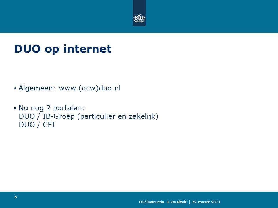 DUO op internet Algemeen: www.(ocw)duo.nl