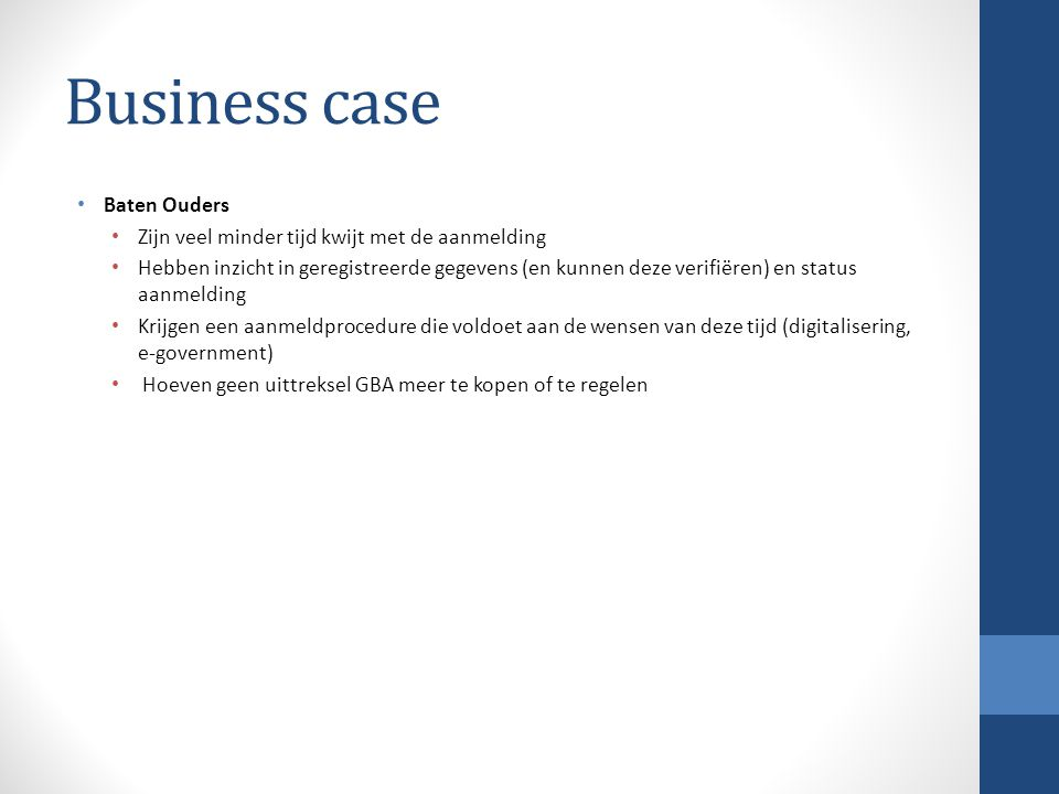 Business case Baten Ouders