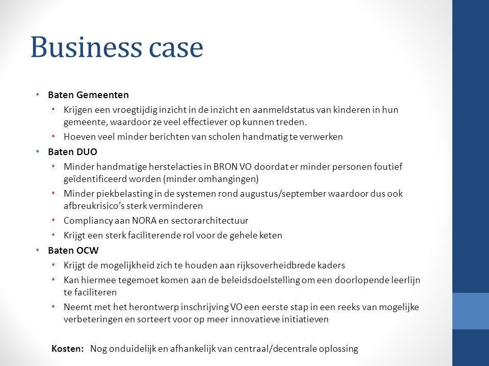 Business case Baten Gemeenten Baten DUO Baten OCW