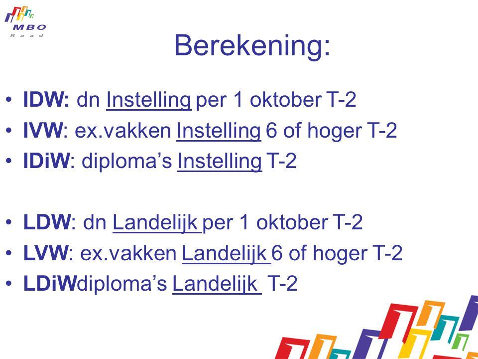 Berekening: IDW: dn Instelling per 1 oktober T-2