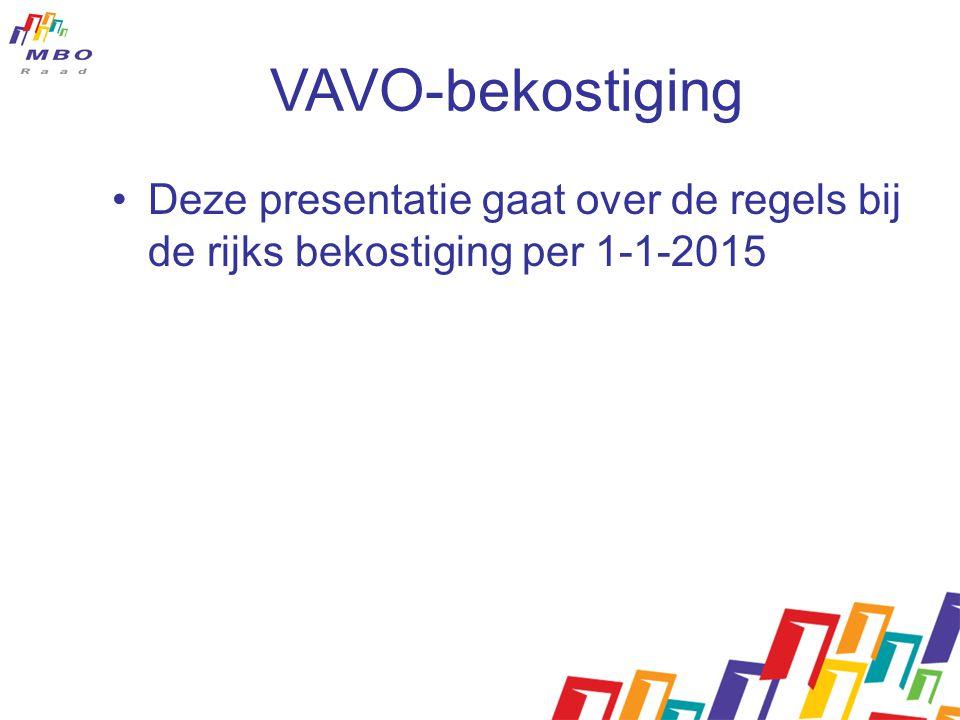 VAVO-bekostiging Deze presentatie gaat over de regels bij de rijks bekostiging per 1-1-2015.