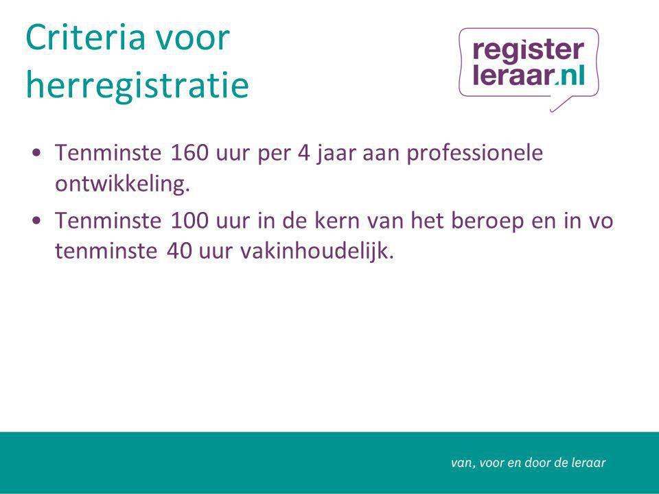 Criteria voor herregistratie