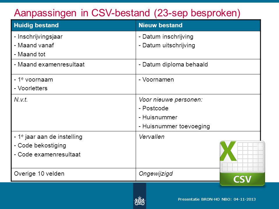 Aanpassingen in CSV-bestand (23-sep besproken)
