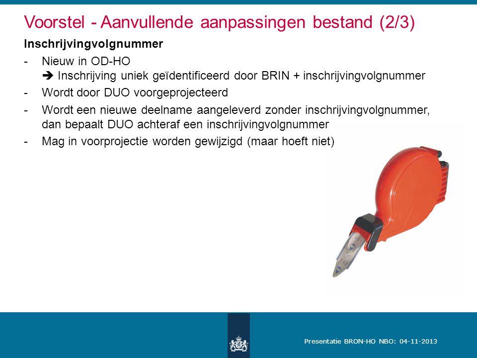 Voorstel - Aanvullende aanpassingen bestand (2/3)