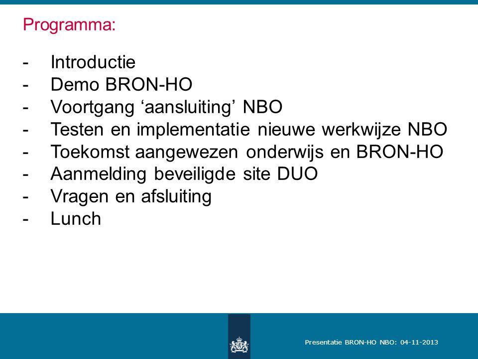 Voortgang 'aansluiting' NBO