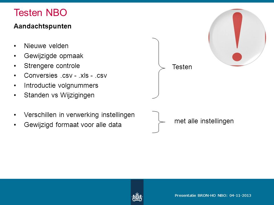 Testen NBO Aandachtspunten Nieuwe velden Gewijzigde opmaak