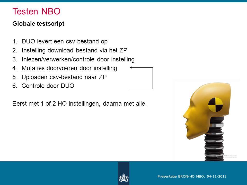 Testen NBO Globale testscript DUO levert een csv-bestand op