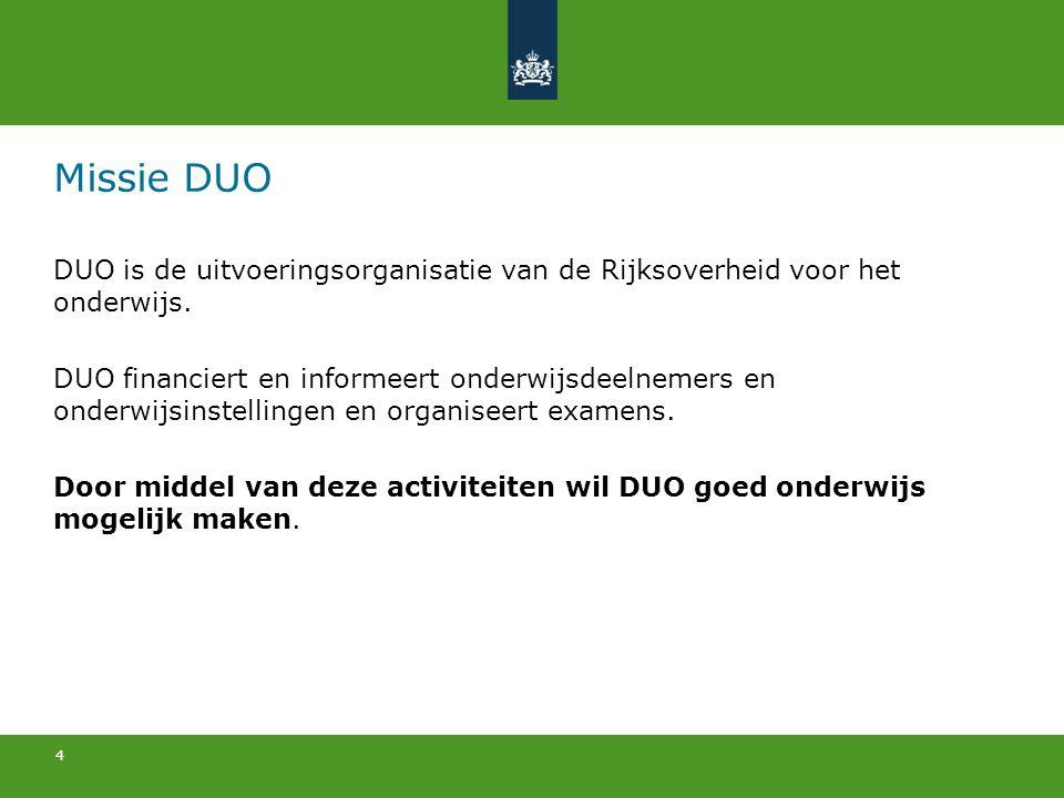 Missie DUO DUO is de uitvoeringsorganisatie van de Rijksoverheid voor het onderwijs.
