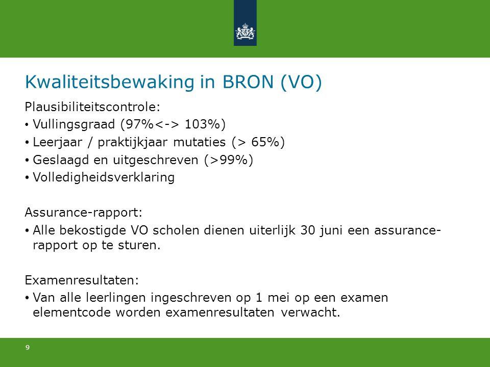 Kwaliteitsbewaking in BRON (VO)