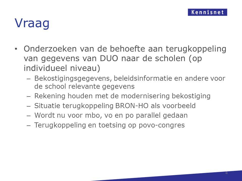 Vraag Onderzoeken van de behoefte aan terugkoppeling van gegevens van DUO naar de scholen (op individueel niveau)