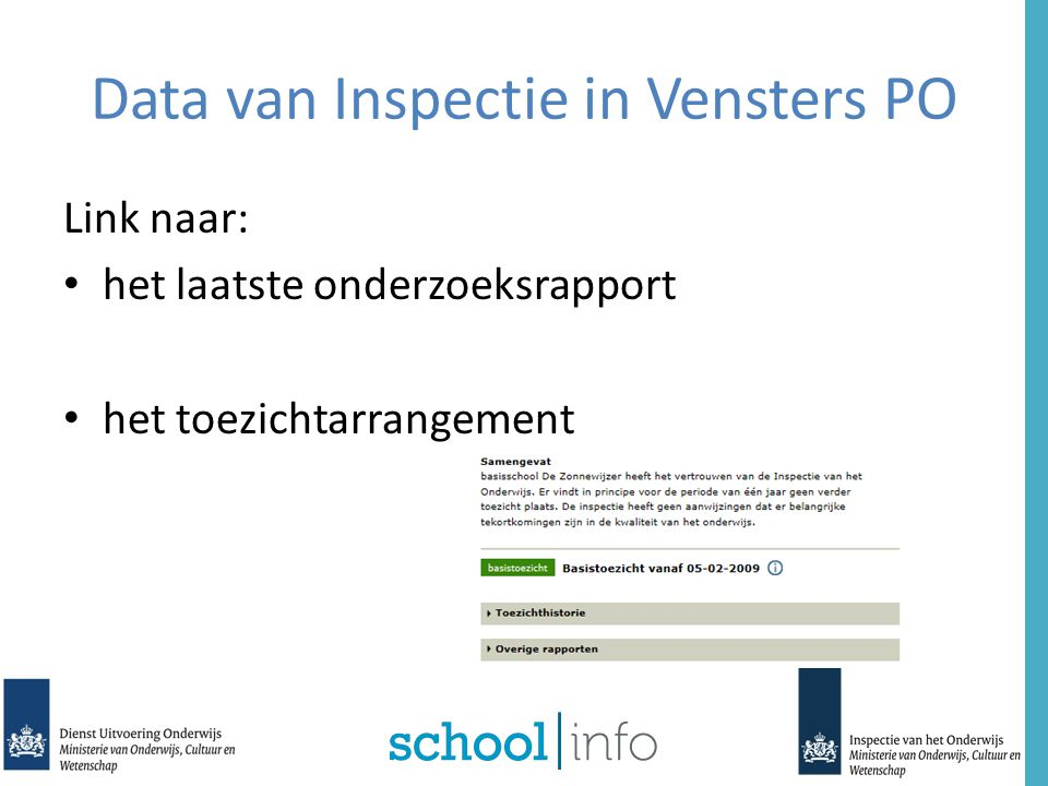 Data van Inspectie in Vensters PO