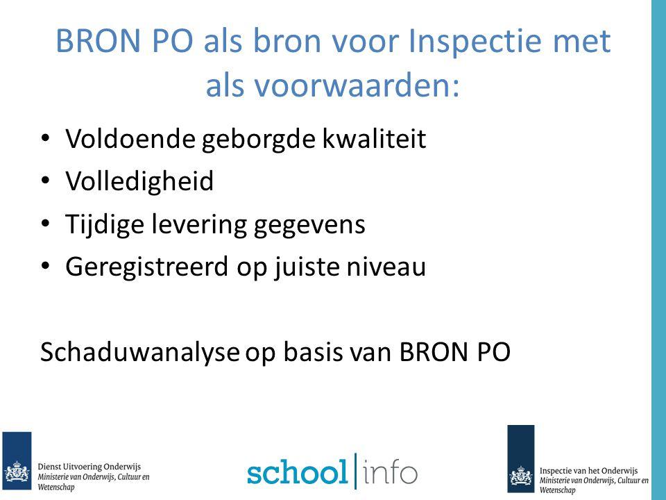 BRON PO als bron voor Inspectie met als voorwaarden: