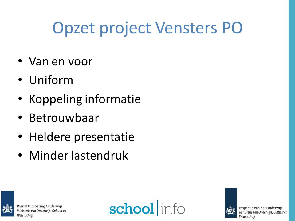 Opzet project Vensters PO