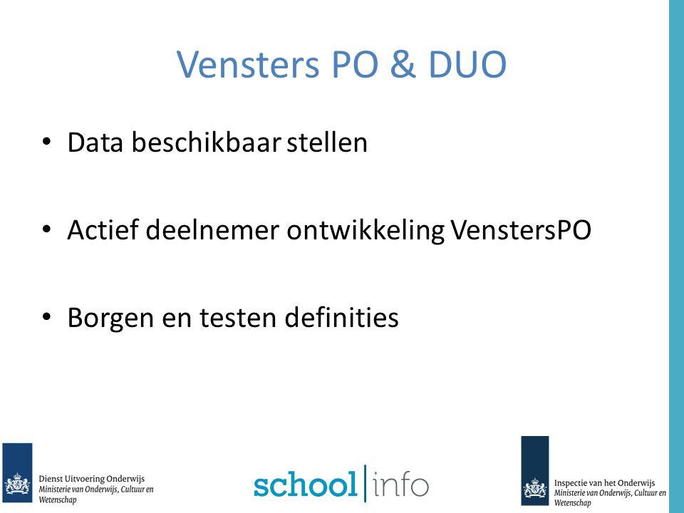 Vensters PO & DUO Data beschikbaar stellen