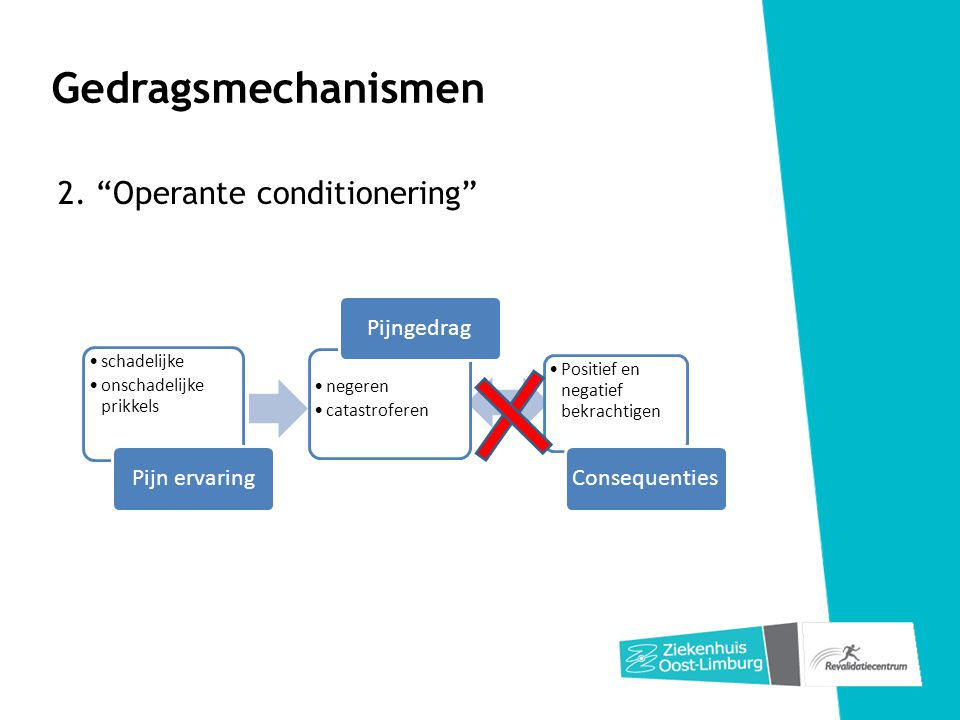 Gedragsmechanismen 2. Operante conditionering Pijn ervaring