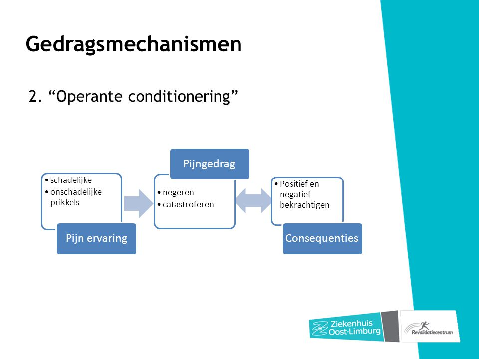 Gedragsmechanismen 2. Operante conditionering Pijn ervaring