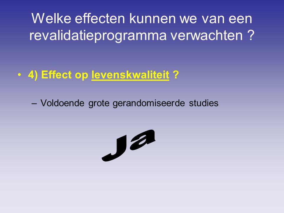 Welke effecten kunnen we van een revalidatieprogramma verwachten