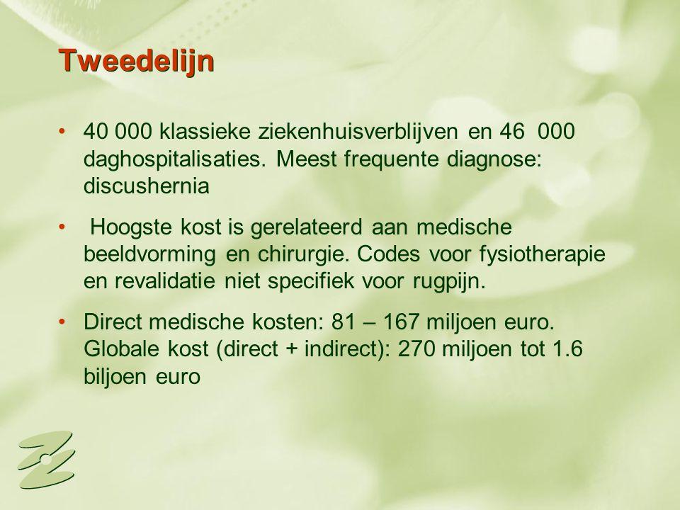 Tweedelijn 40 000 klassieke ziekenhuisverblijven en 46 000 daghospitalisaties. Meest frequente diagnose: discushernia.