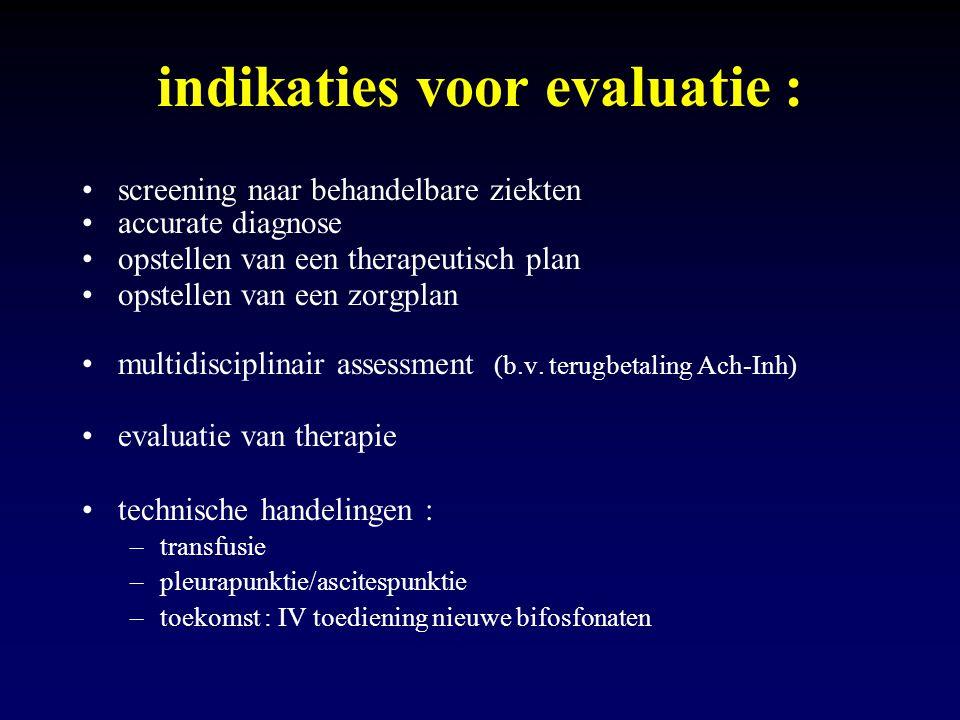 indikaties voor evaluatie :