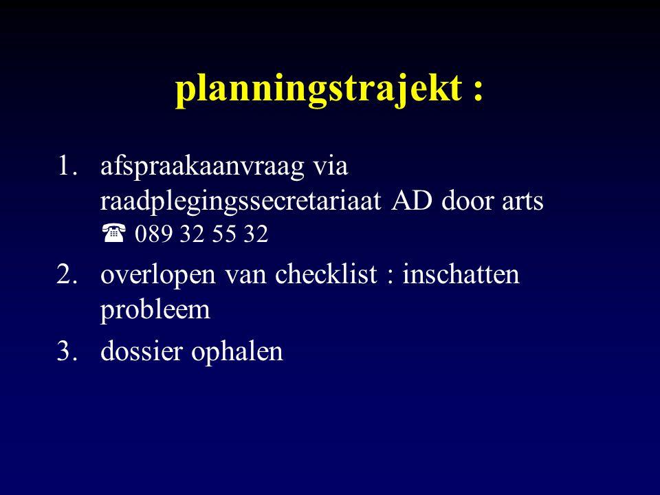 planningstrajekt : afspraakaanvraag via raadplegingssecretariaat AD door arts  089 32 55 32.
