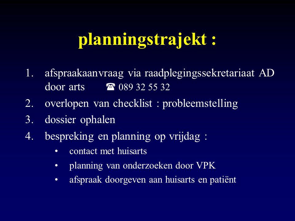 planningstrajekt : afspraakaanvraag via raadplegingssekretariaat AD door arts  089 32 55 32.
