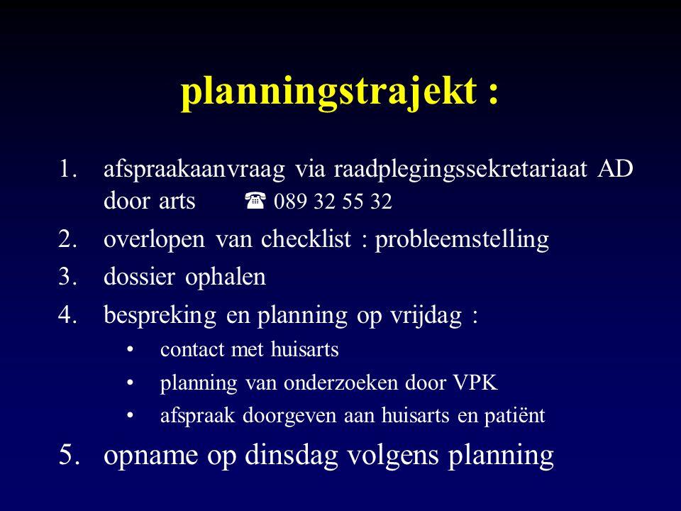 planningstrajekt : opname op dinsdag volgens planning
