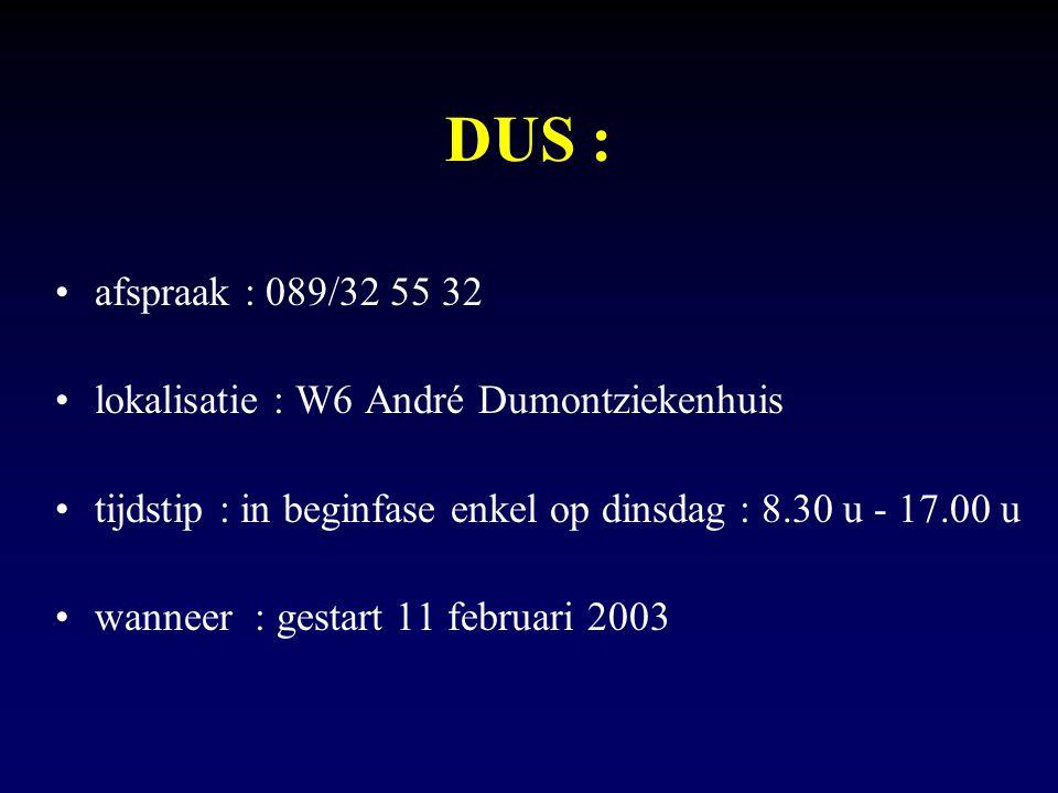 DUS : afspraak : 089/32 55 32 lokalisatie : W6 André Dumontziekenhuis