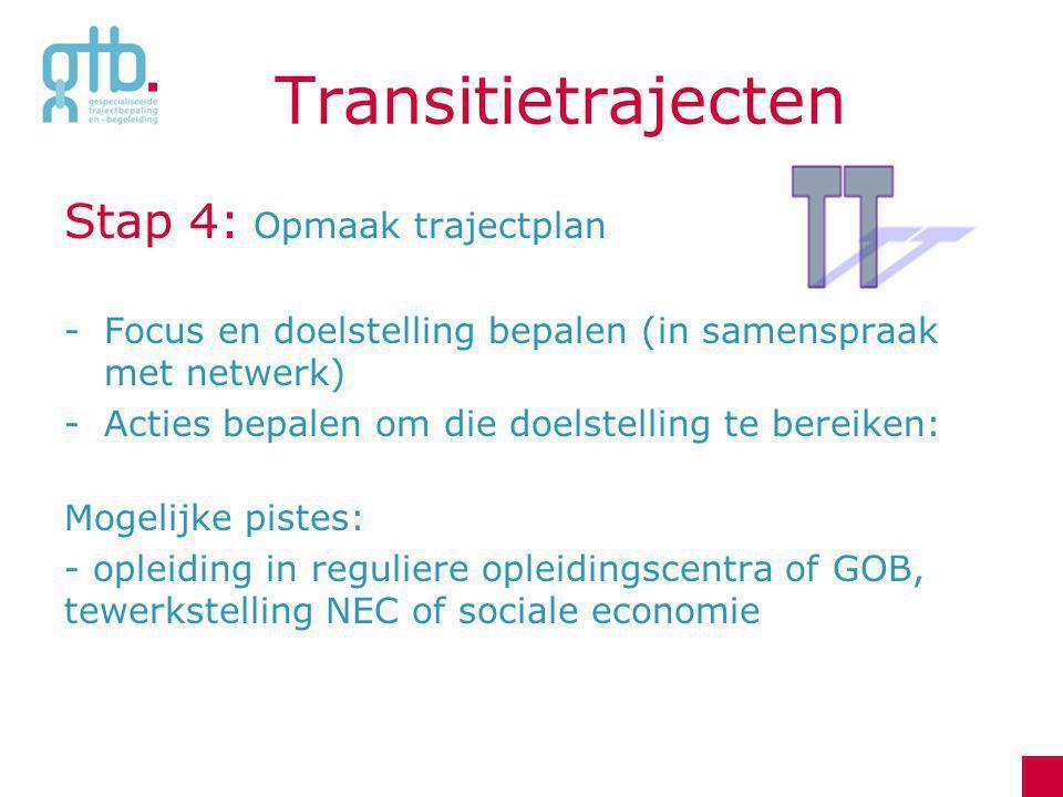 Transitietrajecten Stap 4: Opmaak trajectplan