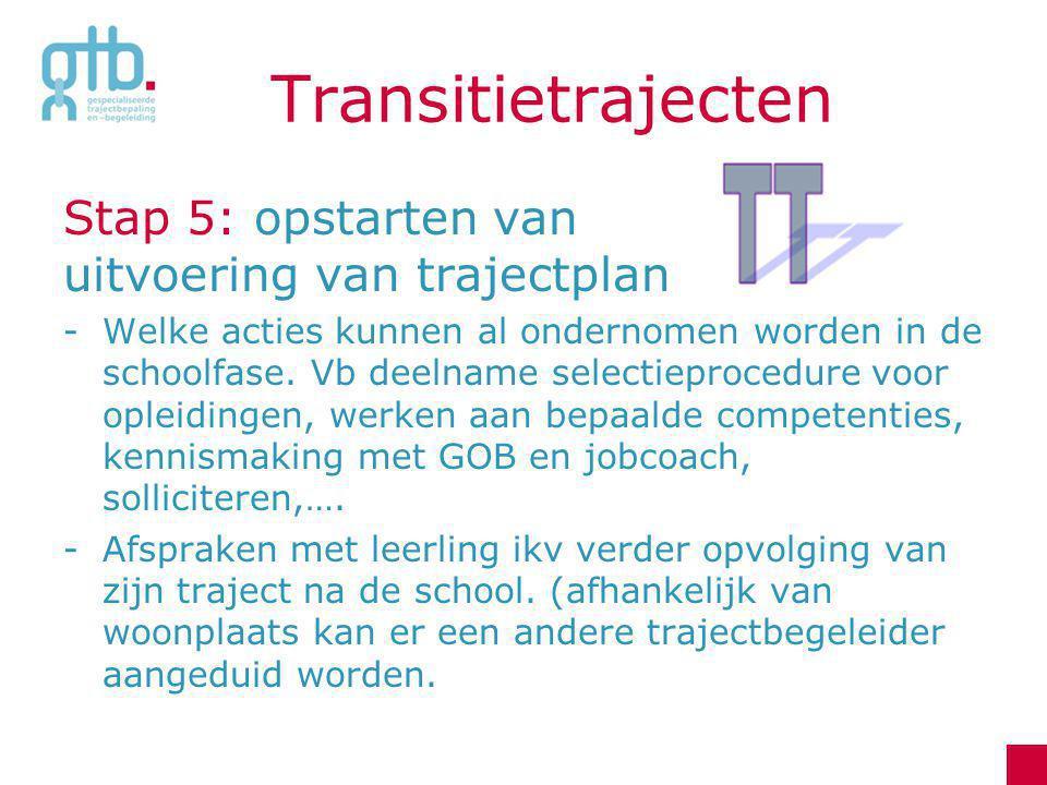 Transitietrajecten Stap 5: opstarten van uitvoering van trajectplan