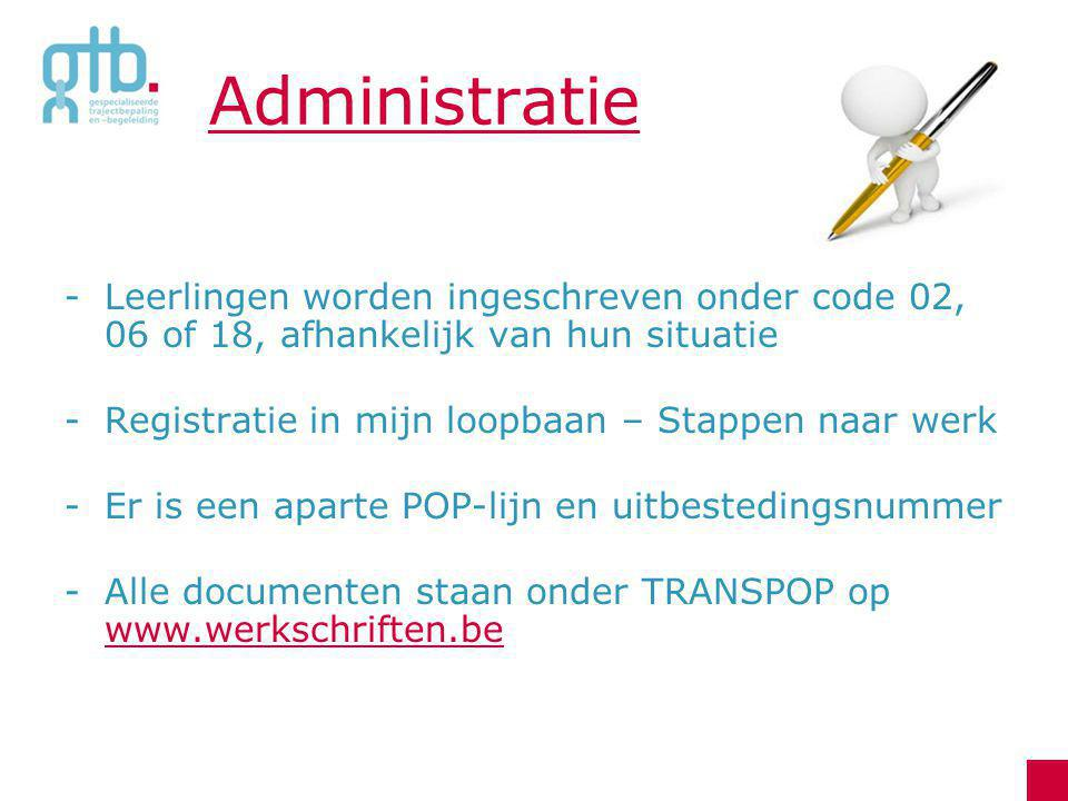 Administratie Leerlingen worden ingeschreven onder code 02, 06 of 18, afhankelijk van hun situatie.
