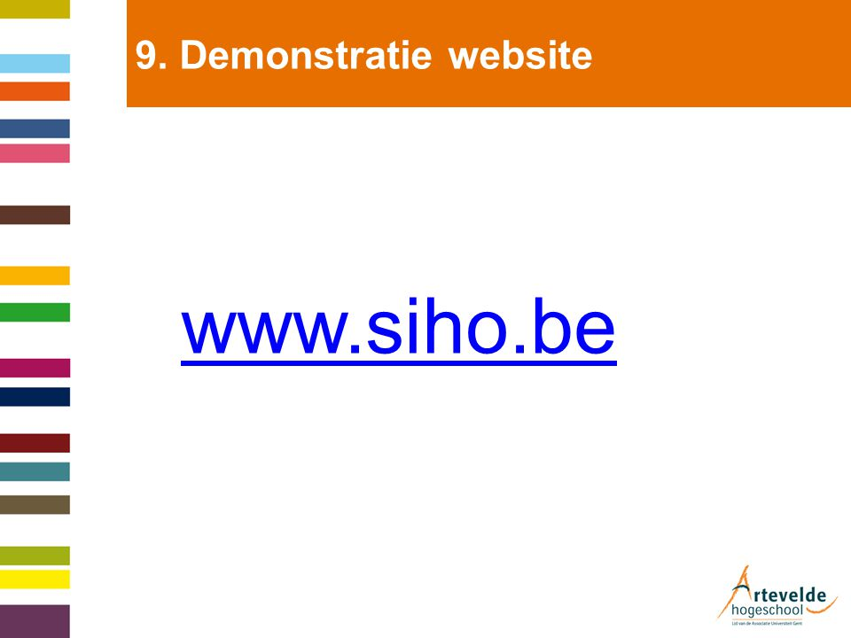 9. Demonstratie website www.siho.be
