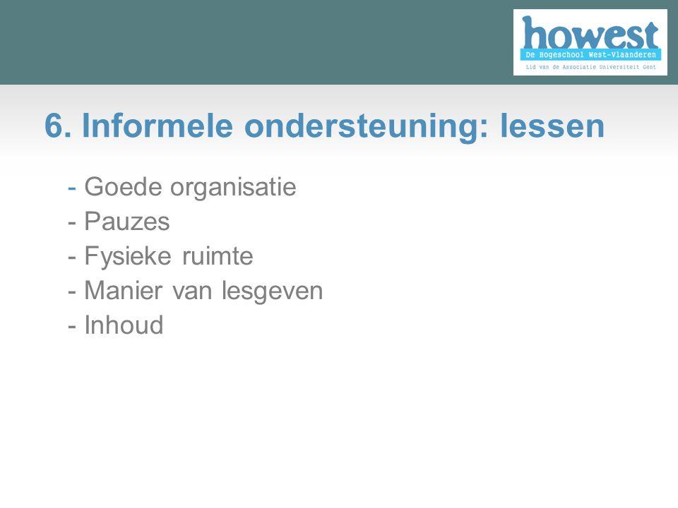 6. Informele ondersteuning: lessen