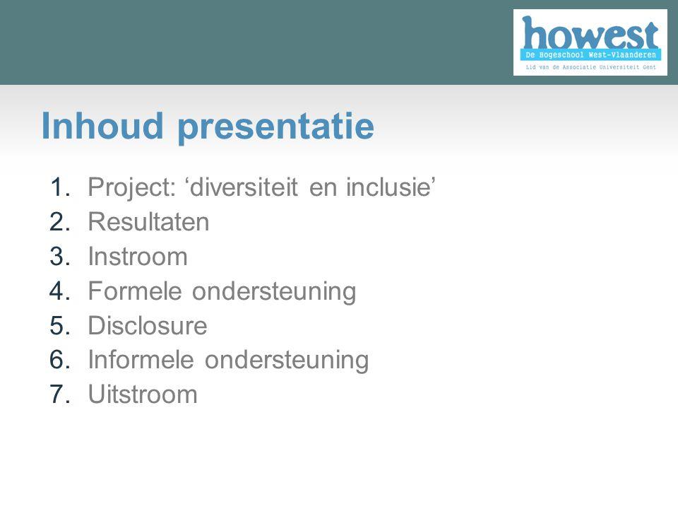 Inhoud presentatie Project: 'diversiteit en inclusie' Resultaten