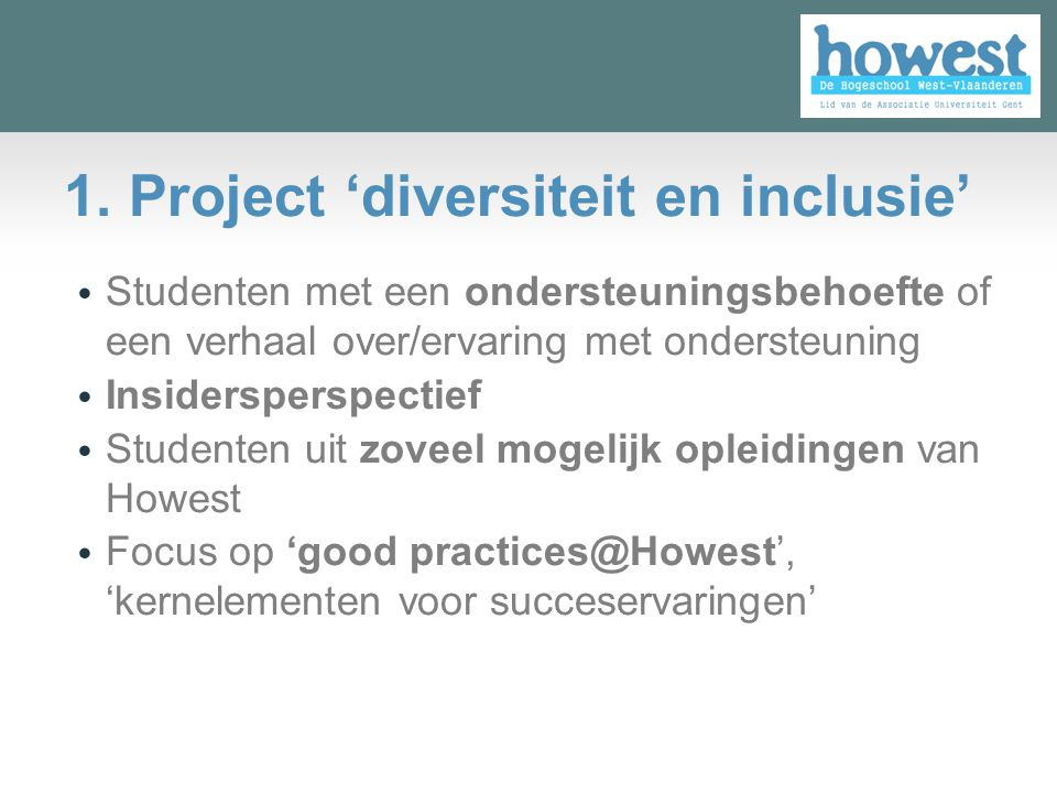 1. Project 'diversiteit en inclusie'