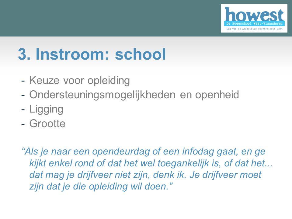 3. Instroom: school Keuze voor opleiding