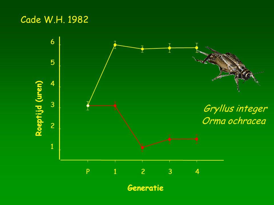Cade W.H. 1982 Gryllus integer Orma ochracea Roeptijd (uren) Generatie