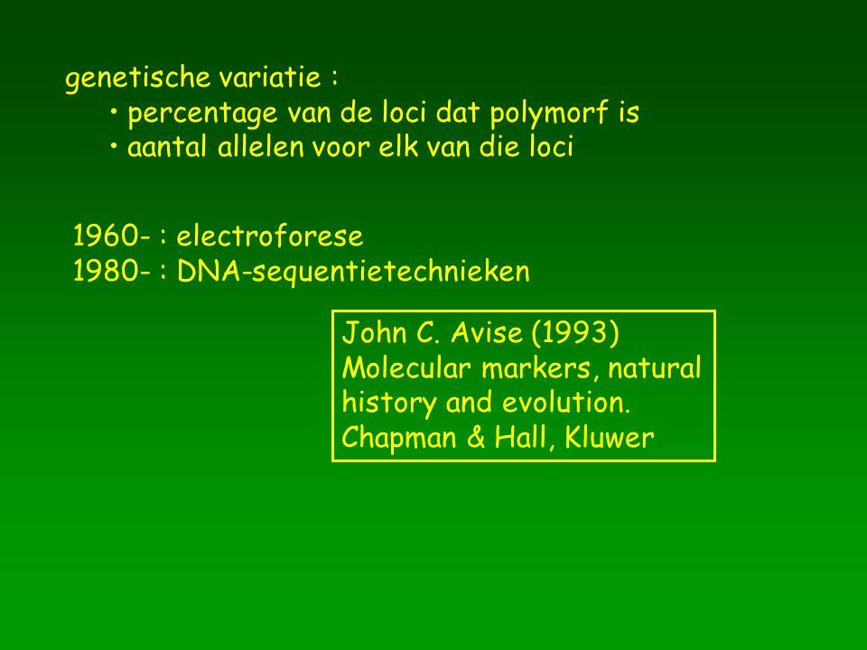 genetische variatie : percentage van de loci dat polymorf is. aantal allelen voor elk van die loci.