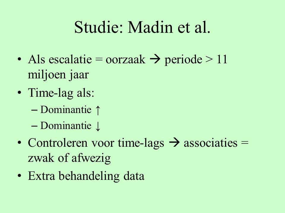 Studie: Madin et al. Als escalatie = oorzaak  periode > 11 miljoen jaar. Time-lag als: Dominantie ↑