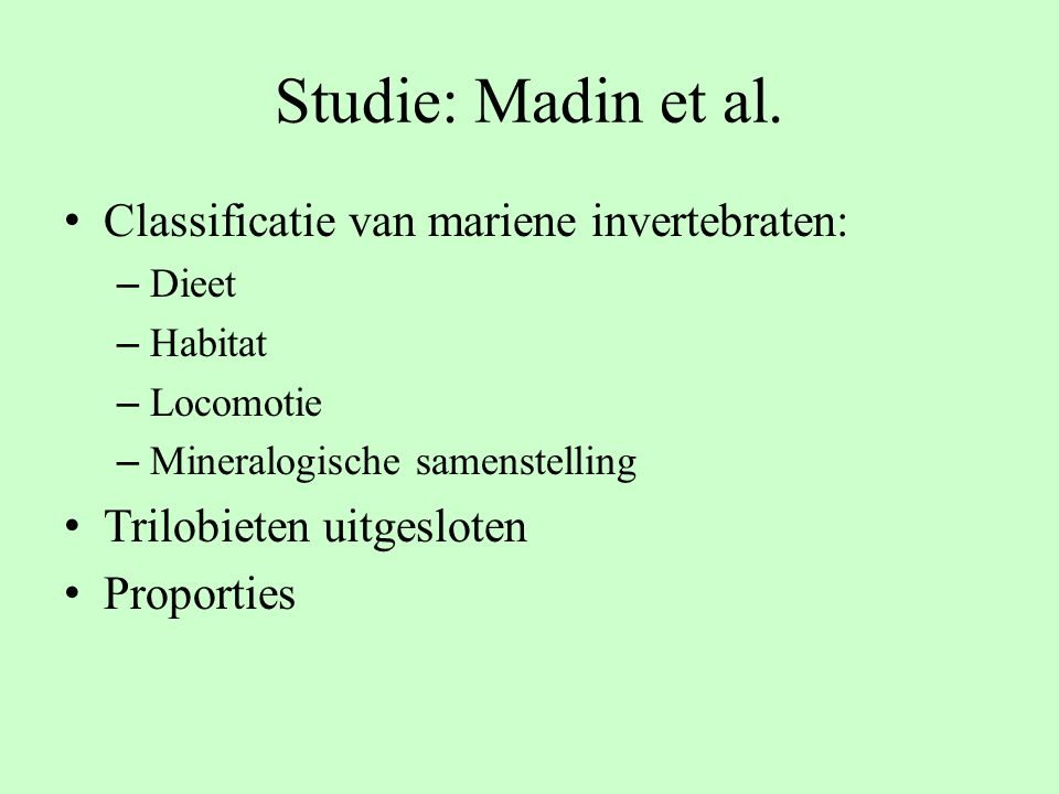 Studie: Madin et al. Classificatie van mariene invertebraten: