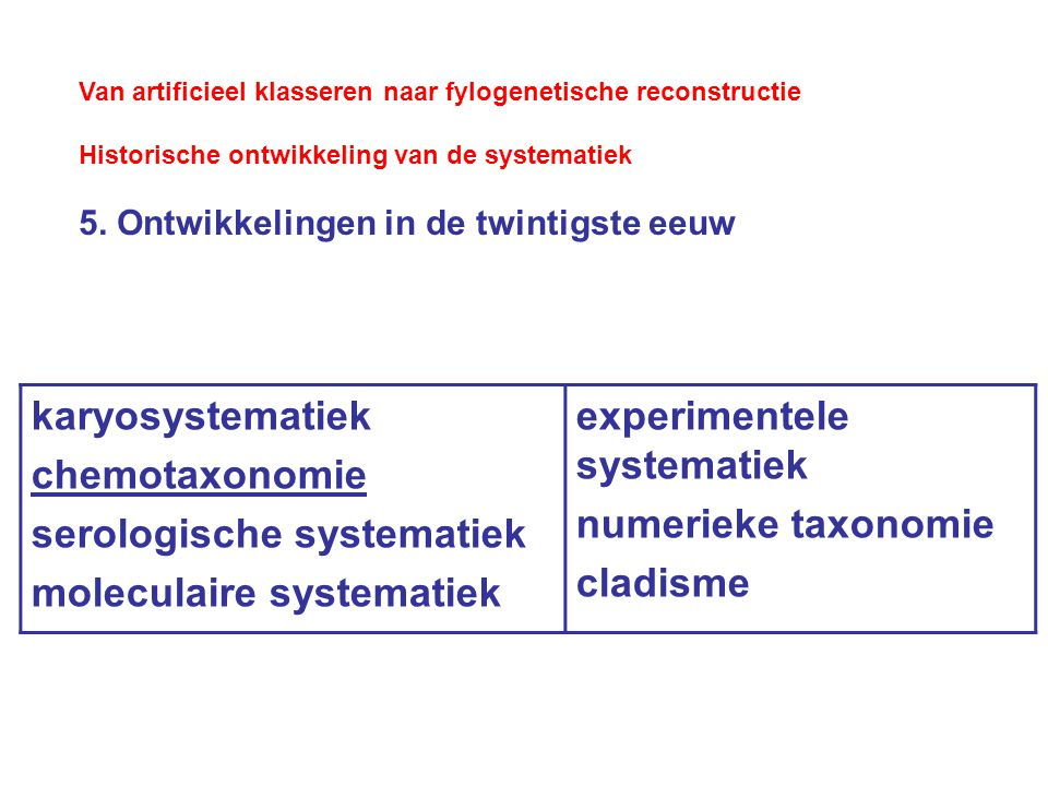 serologische systematiek moleculaire systematiek