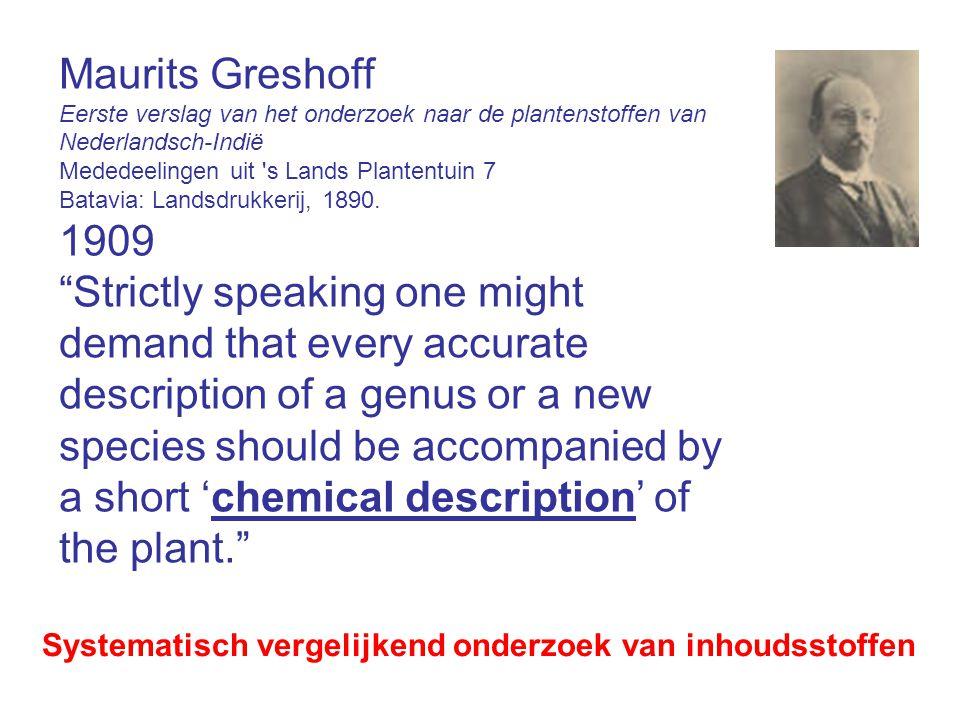 Maurits Greshoff Eerste verslag van het onderzoek naar de plantenstoffen van Nederlandsch-Indië. Mededeelingen uit s Lands Plantentuin 7.