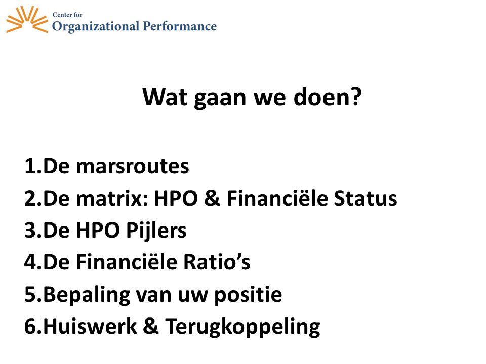 Wat gaan we doen De marsroutes De matrix: HPO & Financiële Status