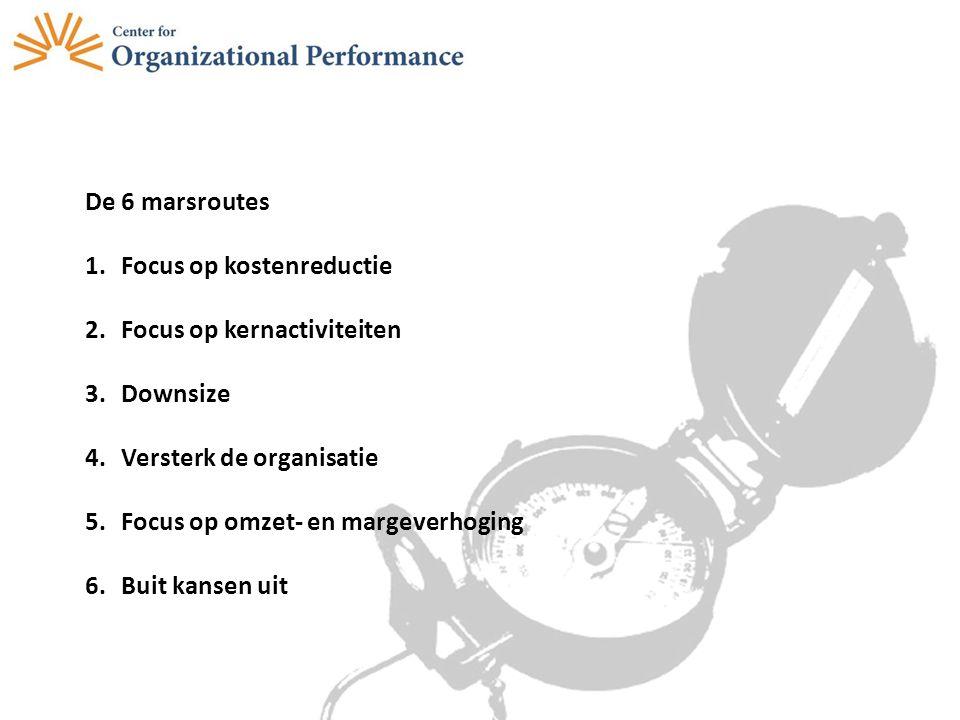 De 6 marsroutes Focus op kostenreductie. Focus op kernactiviteiten. Downsize. Versterk de organisatie.