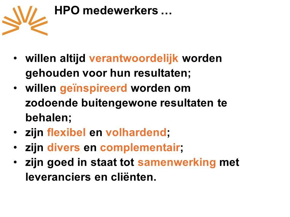 HPO medewerkers … willen altijd verantwoordelijk worden gehouden voor hun resultaten;