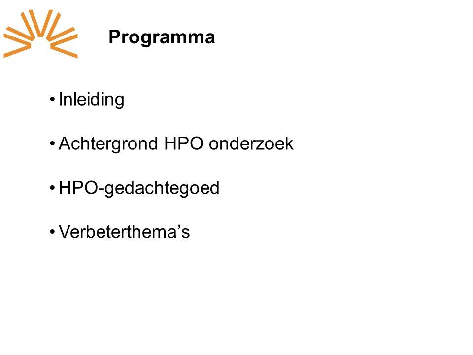 Programma Inleiding Achtergrond HPO onderzoek HPO-gedachtegoed