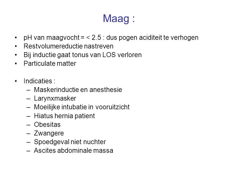 Maag : pH van maagvocht = < 2.5 : dus pogen aciditeit te verhogen