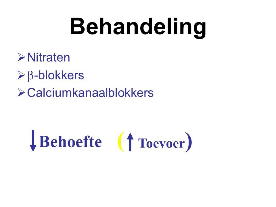 Behandeling ( ) Behoefte Toevoer Nitraten b-blokkers